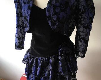 Vintage 1980s Etam Strappy Ra-Ra Dress with matching Bolero Jacket, Black and Midnight Blue -Size 14. VGC