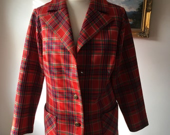 Early 1970s Red Tartan Jacket/Blazer with Decorative Buttons- 'Travables by Mendel', Made in USA Label- Size Approx 12-14-GC