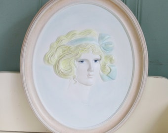 Ceramic Edwardian Girl Cameo Plaque Erma Gilliland Duncan Ceramic Prod Inc 1975
