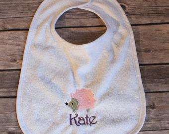 Personalized Hedgehog Baby Bib, Monogrammed Hedgehog Baby Hedgehog, Hedgehog Baby Bib