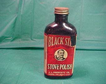 Black Silk Stove Polish  Vintage by Prescott Co.  6 oz. Glass Bottle 1920'S