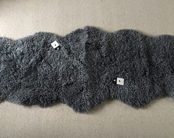 Grey , gray , cloudy grey coloured , neutral, curly double sheepskin rug , throw