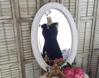 White Oval Mirror, Vanity Mirror, Bathroom Mirror, Shabby Chic Mirror, Nursery Mirror, Custom Color, Bedroom Wall Mirror, Living Room Mirror