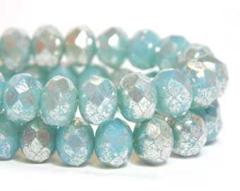 8x6mm Aqua Mercury Czech Beads, Blue Beads, Blue Rondelles, Czech Rondelles, Baby Blue Beads, Blue Donut Beads, Light Blue Beads, T-81F