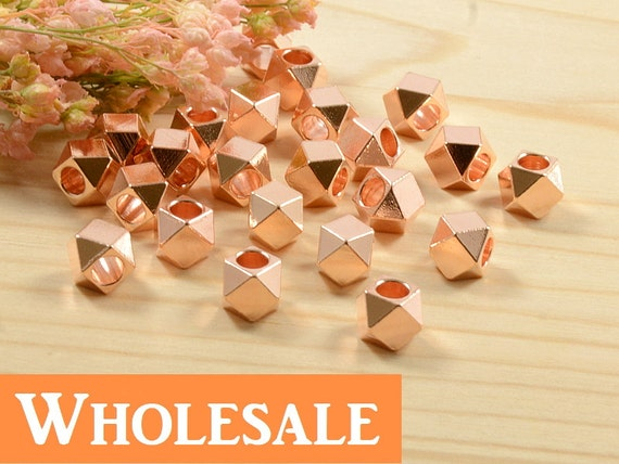 5mm Faceted Spacer Bead WHOLESALE , Anti-Tarnish Rose Gold Plating Diamond Cut Bead, Large Hole Metal Spacer Bead in   - 100 PCS