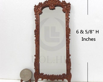 Doll House 1:12 Scale Miniature Victorian Carved Hall Mirror [Finished in walnut]