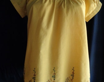 Vintage blouse yellow embroidered cotton small