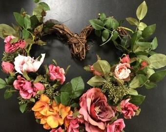 Heart Wreath, Garden Wreath, Heart-Shaped Wreath
