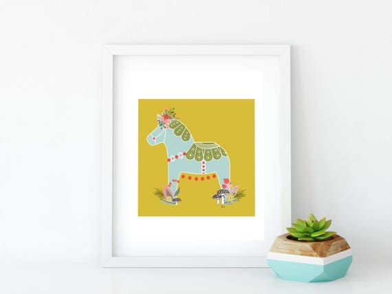 Dala Horse, Printable, Woodland Dala Horse Print, Art Print, Wall Art, Wall Decor, Nursery Wall Art, Swedish Horse, Yellow