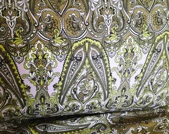Cotton sateen fabric Green/Grey - 100% cotton - 153cm wide - Half metre