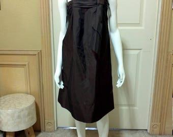 Brown strapless dress/ quinceañera dress/Prom Dress/Bridesmaid Dress/Strapless taffeta dress XS/S