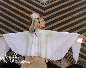 Shawl - white, Wrap, Wings Chiffon Burning Man Scarf, Burlesque Dancer Festival Clothing, Boho, Elegant, Gift for Girlfriend, Wing Shawl,