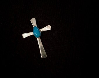 Large Sterling & Turquoise Cross