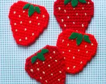 Plastic Canvas: Strawberry Magnets (set of 4)