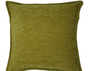 McAlister Textiles Plain Chenille Solid Piped Cushions, Pillows & Covers - 43cm, 49cm, 60cm, 40cm, 50cm w/ Fillers - Lime Green