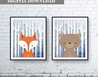 Navy Animals Wall Art Print-Set of Two (2) - Digital Download. Woodland Creatures Wall Art Printable. Forest Friends Printable. Navy Fox Art