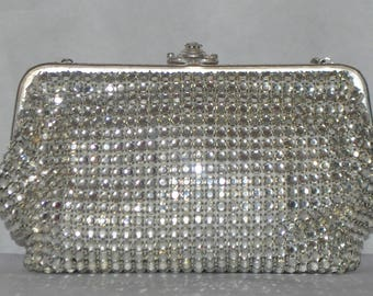 1940 Vintage Solid Rhinestone Evening  Evening Purse; Made in West Germany; MINT CONDTION