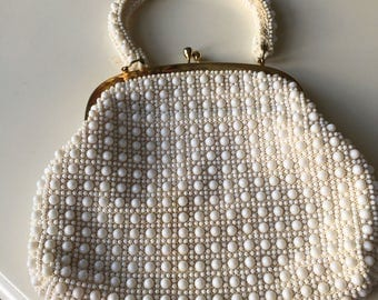 1960s Beaded White Bag, Short Handle Bag.