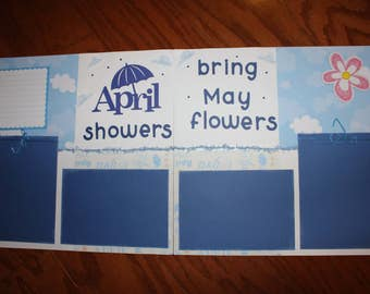 12 x 12 premade scrapbook layout April Showers bring May flowers , handmade scrapbook layouts, spring scrapbook layouts