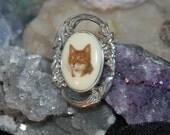 Orange Brown Tabby Jezlaine Cat Brooch in Vintage Sterling #BKC-KBRCH104