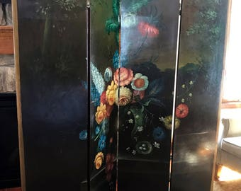 "Antique Victorian 70""H Handpainted Floral Room Divider 4-Panel Screen c. 1910 **FREE SHIP**"