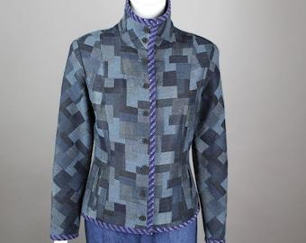 1980s Koos Van den Akker Jacket blazer patchwork denim look  funnel neck blue S