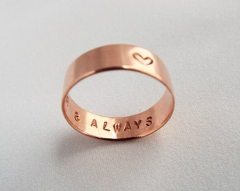 Stamped Copper Ring, HEART Jewelry, Narrow Band, Affordable, Custom Wedding Ring, Personalized Gift, Love Commitment Ring, Custom Jewelry,