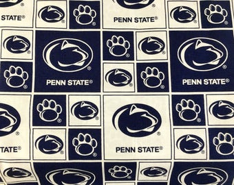 """PENN STATE Nittany Lions ncaa 45"""" Cotton Fabric By The Yard All Over Block Print Sykel Enterprises"""