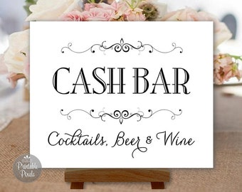 printable cash bar sign black and white wedding sign party sign choose