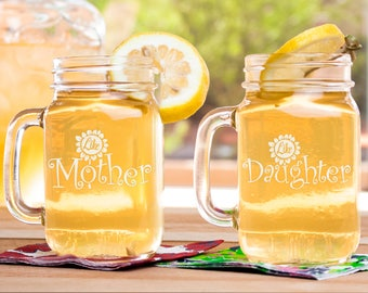 Like mother, like daughter, mothers day gift from daughter, mason jar set, matching mason jars, etched glass