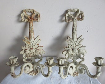 French Decorative Pair of cast iron candle holders/kitchen decor/exterior candle sconces/Home decor/Margalide