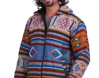 HAND WOVEN JACKET, ooak mens one of a kind Bhutan yathra-style wool hoodie, mans winter hippy coat, warm woollen hoodie, festival jacket