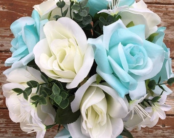 Mint green and white rose bouquet & boutonniere
