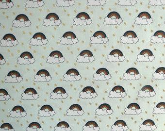 Fabric - Rico - Mint/Gold rainbow print - woven cotton