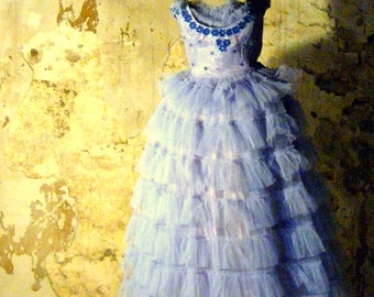vintage soft blue tulle dress shabby chic antique corset