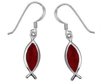 Fish red coral earrings 20 mm 925 Sterling Silver earrings coral (REF. No. OK-96sd)