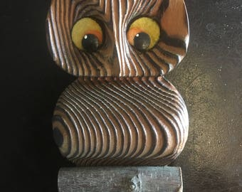 Adorable Vintage Wooden Owl 1960's  - 1970's