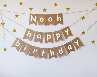 Happy birthday bunting personalised, neutral photo prop