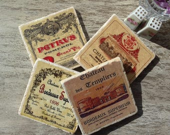 Coasters Vintage Wine Label Coasters Vintage Wine Coaster Set Vintage Coasters
