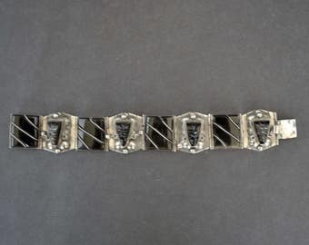 Mexican Sterling and Black Onyx Bracelet