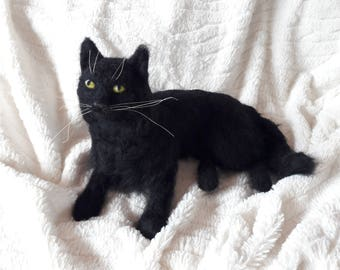 OOAK needle felted black cat
