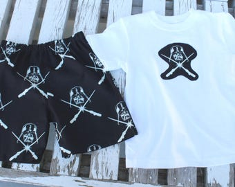 Boys Shorts, Boys Short Set, Handmade,Summer Wear,All Seasons, Star Wars Themed, Black and White