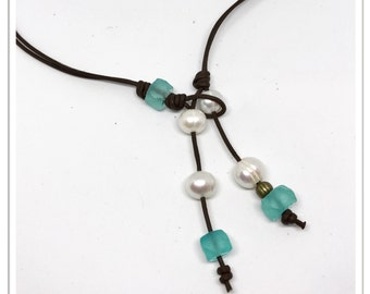 Aqua Glass and Pearls on Leather Necklace