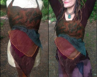 The 'Autumnal Elf' Lagenlook Nuno Felted Faery Top, Elven Vest, Upcycled Slow Fashion, Eco Pixie, Psy Festival Burning Man, Hippie Nomad Top