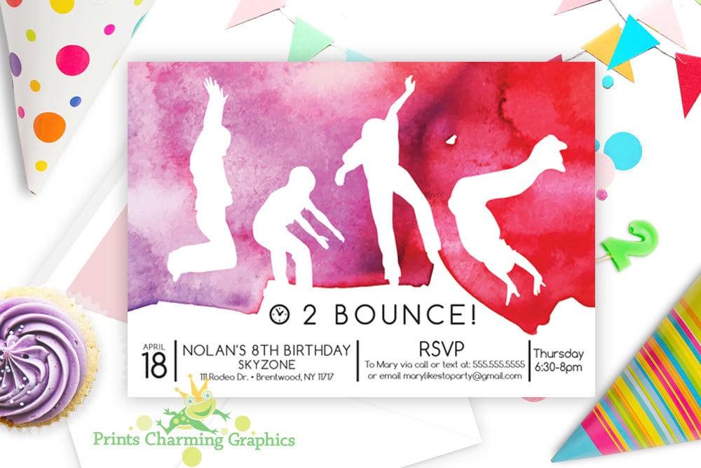Trampoline Party Invitation Sky Zone Jump Custom Print