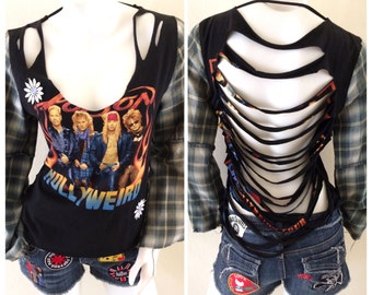 Poison Cut Up Concert Top with Flannel Sleeves