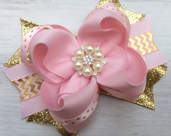 Pink and gold hair bow, pink and gold hair accessory, pink and gold headband, pink and gold party, pink and gold first birthday, pink gold