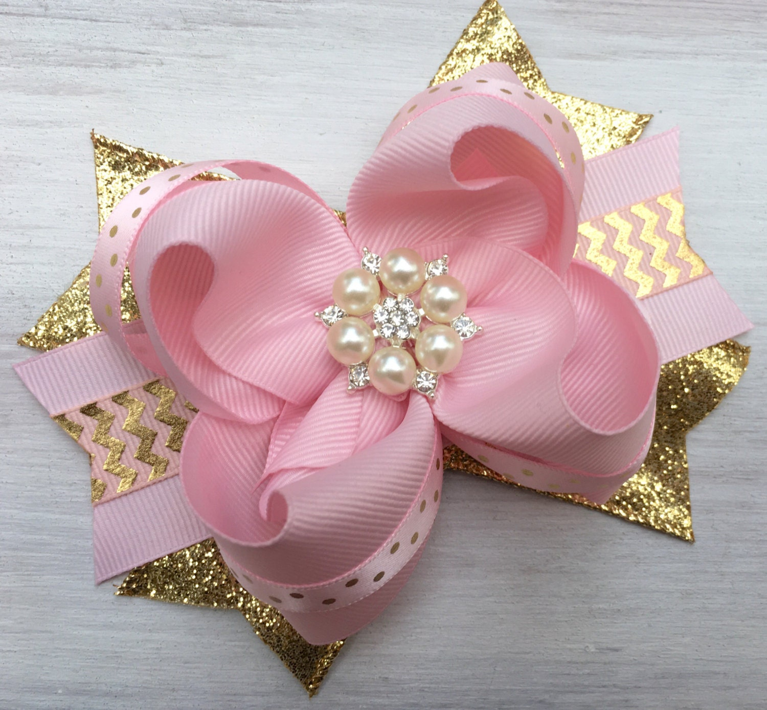 Pink And Gold Hair Bow Pink And Gold Hair Accessory Pink And