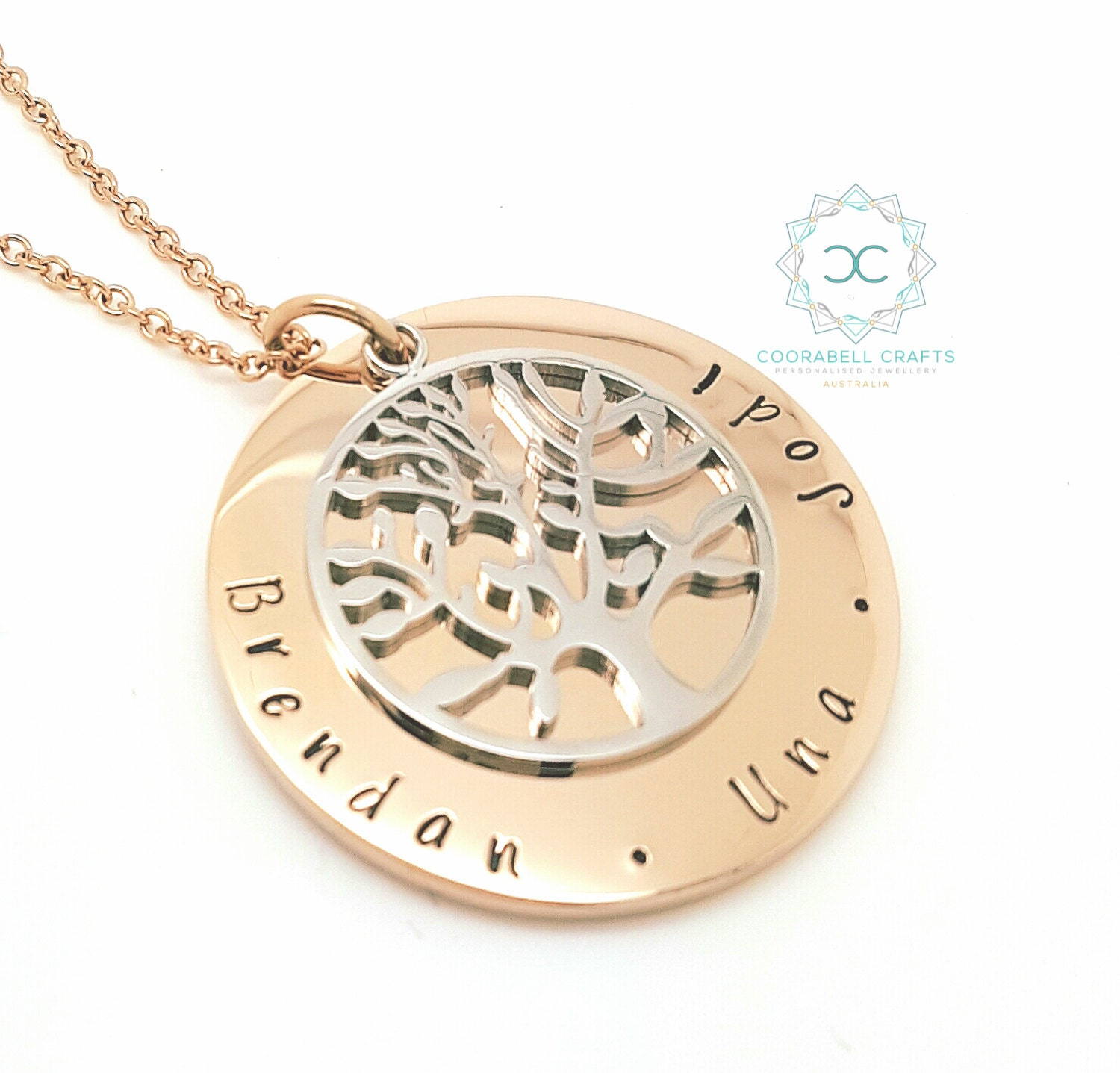 Family names tree of life pendant personalised jewellery hand shipping aloadofball Images