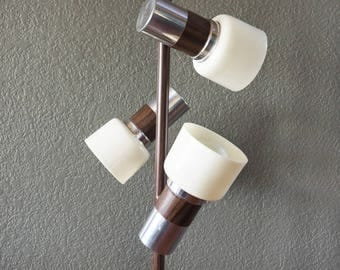 Retro Mid Century Floor Lamp, Faux Bois and Chrome with Frosted Shades | Local Pickup ONLY